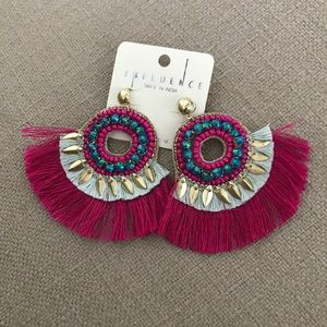 Jewelry - Pink and Turquoise Tassel Fringe Fashion Earrings